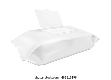 White wet wipes package with open flap.
