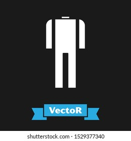 White Wetsuit for scuba diving icon isolated on black background. Diving underwater equipment.  Vector Illustration