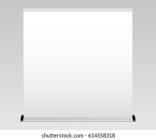 White wide blank roll-up banner mockup. Apply your design and showcase your projects and layouts for exhibition or presentation. POS stand banner. Vector illustration