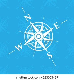 White wind rose isolated on blue background. eps10
