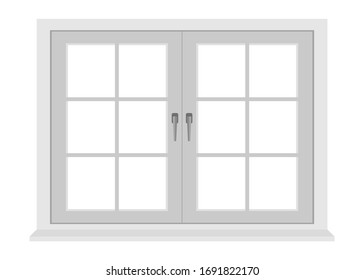 White window frame isolated on white background
