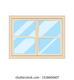 white window, glass frame interior construction isolated
