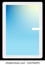 White Window With Sun Rays. Vector.