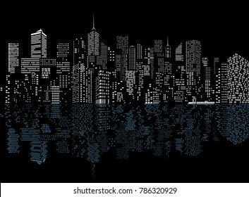 white windows on city skylines with reflection on water waves, cityscape background, editable and layered