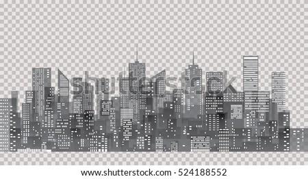 white windows on city skylines transparent stock vector royalty
