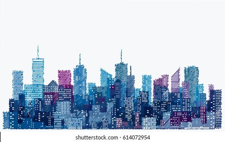 white windows on hand drawn city skylines, blue color cityscape background, editable and layered
