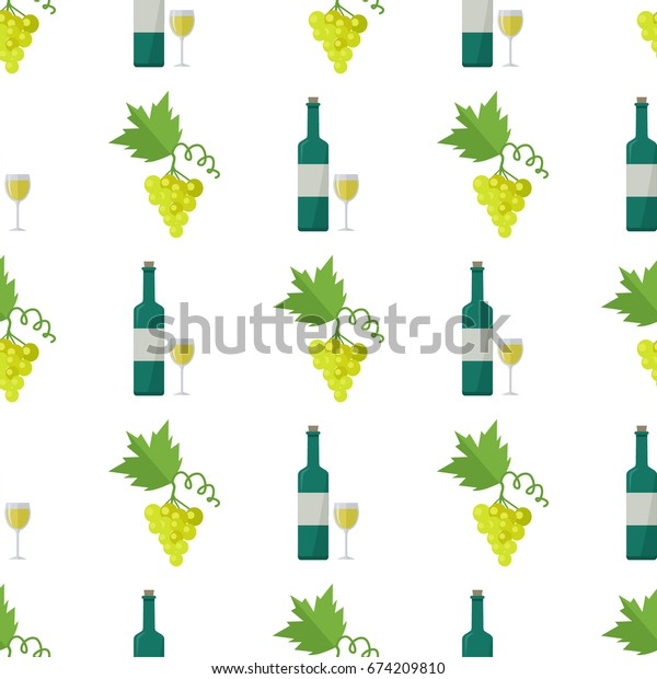 White wine in glass and bottle, green grapes bunch vector illustrations formed in endless texture. Alcohol drink made of fruit seamless pattern.