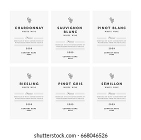 White wine labels. Vector premium template set. Clean and modern design. Shardonnay, Pinot Blanc, Riesling, Sauvignon, Semillion.
