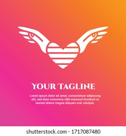 White wing hand and stripped love symbol with rainbow background represent freedom, care, pride & confidential of love