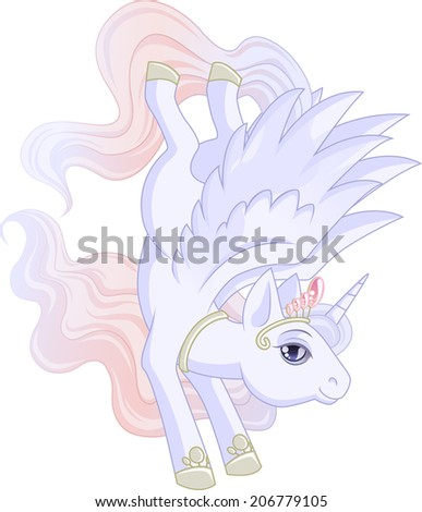 White Winged Unicorn With Pink Mane Is Jumping