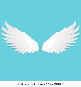white wings flat design icon