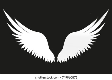 White Wings. Vector illustration on black background.