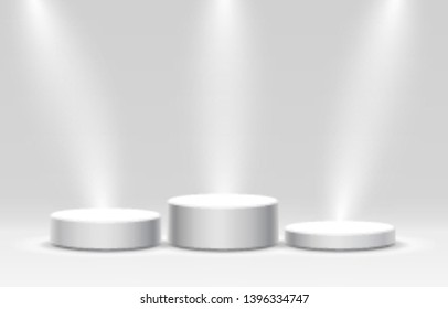 White winners podium for business concepts, Podium set object, Vector illustration