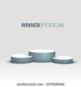 White winners podium. Pedestal. Spotlight Vector illustration eps 10