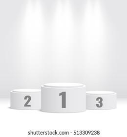 White winners podium. Pedestal. Spotlight. Vector illustration.