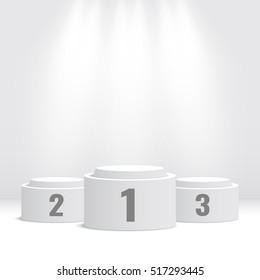 White winners podium. Pedestal. Spotlight. Vector illustration.