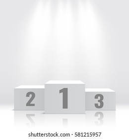 White winners podium. Pedestal. Vector illustration.