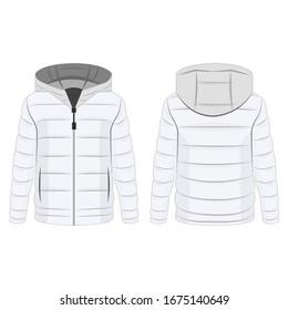 Weißer Winter-Daunenziffer mit Kapuze einzeln auf weißem Hintergrund Vektorillustration