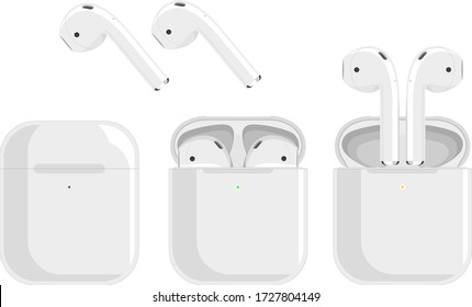 white wireless headphones, earbuds in the charging case, three pictures of removing the headphones on a white background. Bluetooth headphones in a flat design