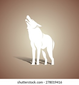 White wolf silhouette