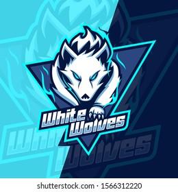 white wolves mascot esport logo design