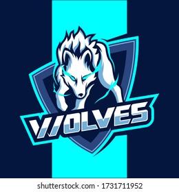 White wolves mascot esport vector logo design