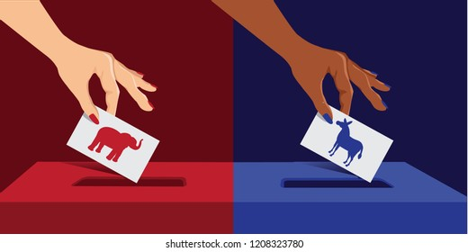 White woman and black woman voting. White woman voting Republican and black woman voting Democratic. EPS10 vector illustration.