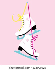 White woman figure Ice skates. vector illustration
