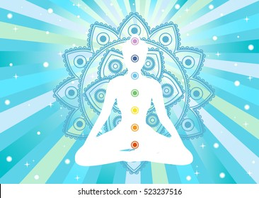 white woman meditating silhouette with colored chacra and mandala, vector