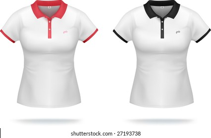 White woman polo shirt with red & black details. VECTOR, gradient mesh, very detailed.