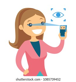 White woman scanning eyes with smartphone. Smartphope eye scanning identity technology. Digital identity concept. Vector cartoon illustration isolated on white background.