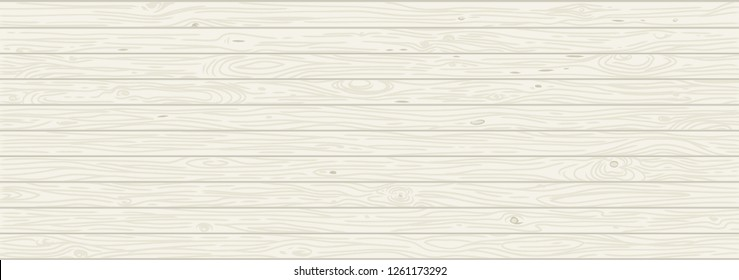 White wooden background. Old weathered wood surface with long boards lined up vector illustration. Wooden planks on a wall or floor with grain and texture. Light neutral tones. Washed painted texture