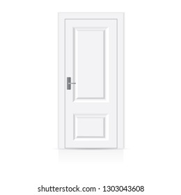 White wooden door isolated on a white background