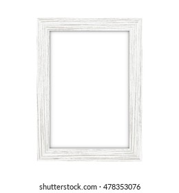 White wooden rectangular picture frame on a white background - Vector