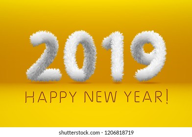 white wool 2019 Happy New Year. yellow background. Vector illustration art