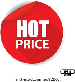 White Word Hot Price And Red Circle Sign, Icon, Label And Sticker Special Offer Symbol. Vector illustration.