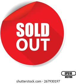 White Word Sold Out And Red Circle Sign, Icon, Label And Sticker Special Offer Symbol. Vector illustration.