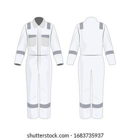 Weiße Arbeitsüberzüge mit Sicherheitsband einzeln auf weißem Hintergrund Vektorillustration