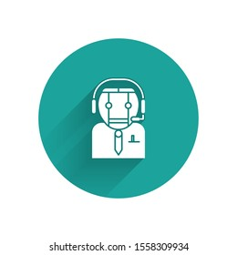White Worker robot icon isolated with long shadow. Green circle button. Vector Illustration