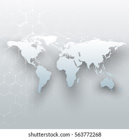 White world map, connecting lines and dots on gray color background. Chemistry pattern, hexagonal molecule structure, scientific research. Medicine, science concept. Abstract design vector decoration.