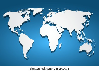White World Map, continents of the planet - stock vector