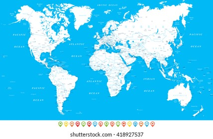White World Map and navigation icons - illustration Highly detailed world map: countries, cities, water objects