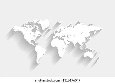 White world map on gray background, vector, illustration, eps 10 file