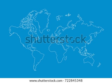 White World Map Outline Graphic Freehand Stock Vector (Royalty Free ...