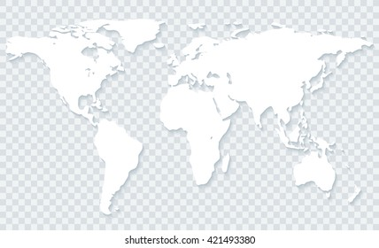 White world map with shadow on transparent background.Vector EPS10