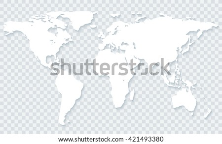 White World Map Shadow On Transparent Stock Vector Royalty Free