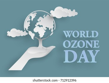 White World tree in two hand in Paper Cutting Style  for World Ozone Day Concept
