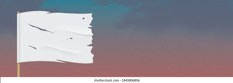 White worn flag, waving on a dark rainy sky background. Torn flag with blank space for image or text placement. Waving vector flag hanging on a wooden pole. Horizontal banner with surrendering flag.
