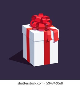 White wrapped gift box decorated with big red ribbon bow. Flat style vector illustration isolated on dark background.