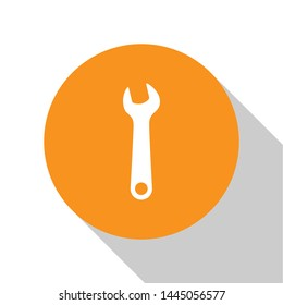 White Wrench icon isolated on white background. Spanner repair tool. Service tool symbol. Orange circle button. Vector Illustration